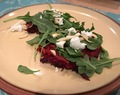 Beet Fritters with Goat Cheese and Arugula