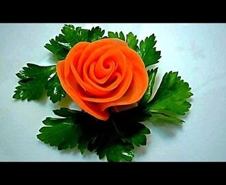 Роза из моркови. Flowers from carrots. Decoration of carrots.