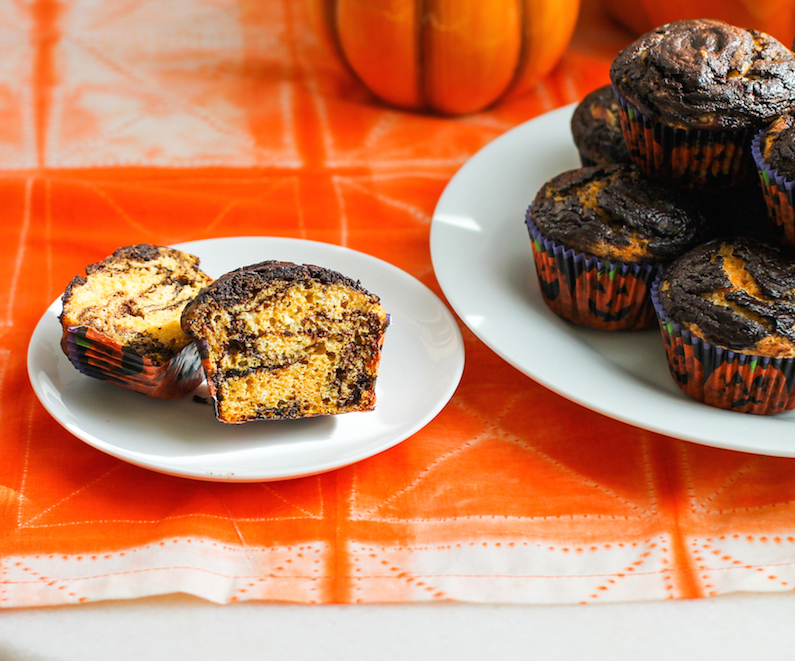 Chocolate Pumpkin Swirl Muffins #MuffinMonday