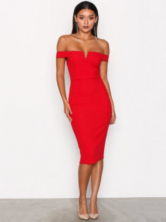Ax Paris Bardot Midi Dress Fodralklänningar Red