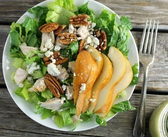 Chicken, Pear, and Blue Cheese Salad with Sweet Onion Dressing