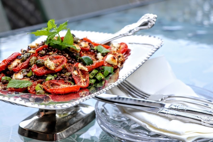 Roasted Feta and Tomato Lentil Salad