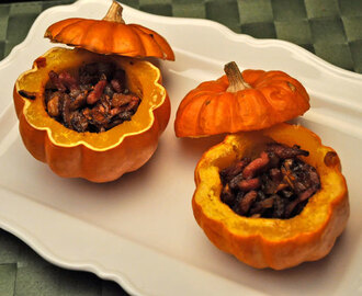 Baby Pumpkins Filled with Bacon, Shallots, Mushrooms; pumpkins for Halloween