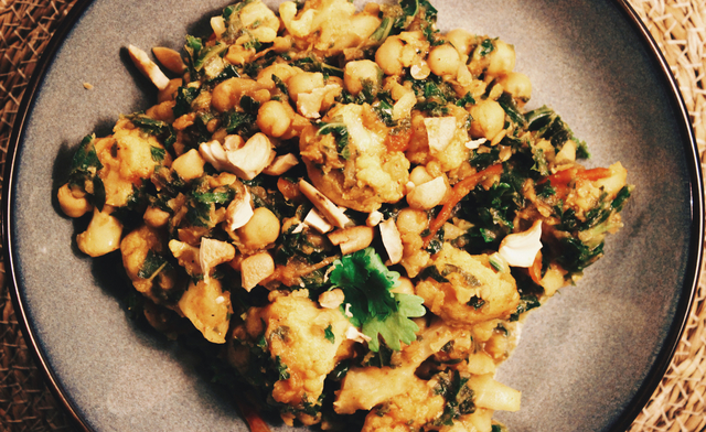 Vegan Cauliflower & Kale Chick Pea Curry & A Chat About Meat