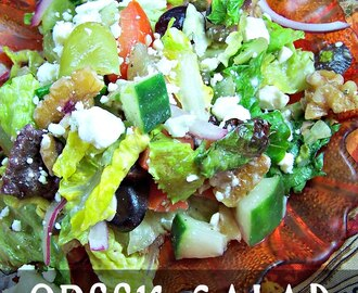 Greek Salad with Walnuts & Grapes