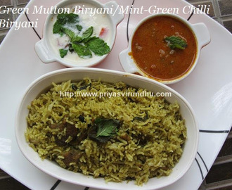 Green Mutton Biryani/Green Chilli-Mint-Coriander Mutton Biryani