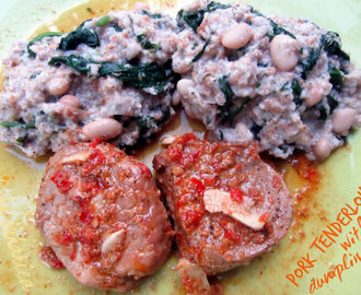 Svinjski file s okruglicama od kruha, špinata i graha :: Pork tenderloin with bread, spinach and white bean dumplings