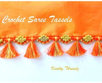 Crochet Saree Tassels Tutorial with Double Colour Kuchu | Easy Beaded Design | www.knottythreadz.com