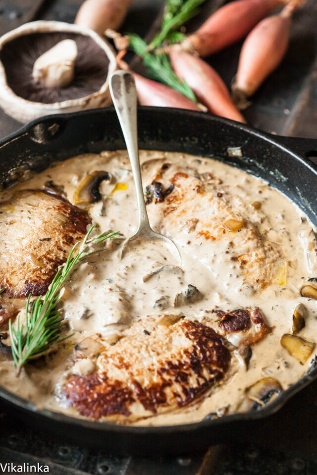 Pork Loin Steaks in Creamy Shallot and Mushrooms Sauce