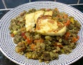 Green lentils, quinoa and halloumi