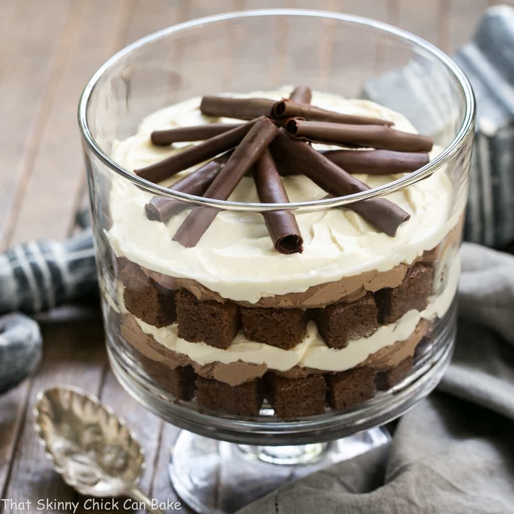 Fudgy Brownie Trifle with Chocolate Mousse #SundaySupper