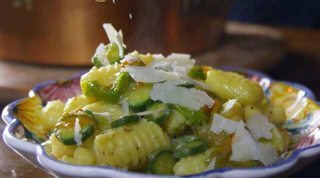 Potato gnocchi with zucchini and pecorino