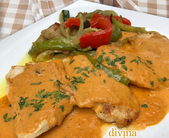 Filetes de pollo con salsa gaucha