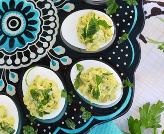 Egg Salad Deviled Eggs with Fresh Parsley
