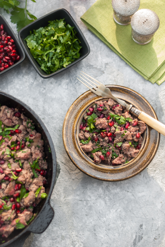 Chicken Livers with Pomegranate and Coriander