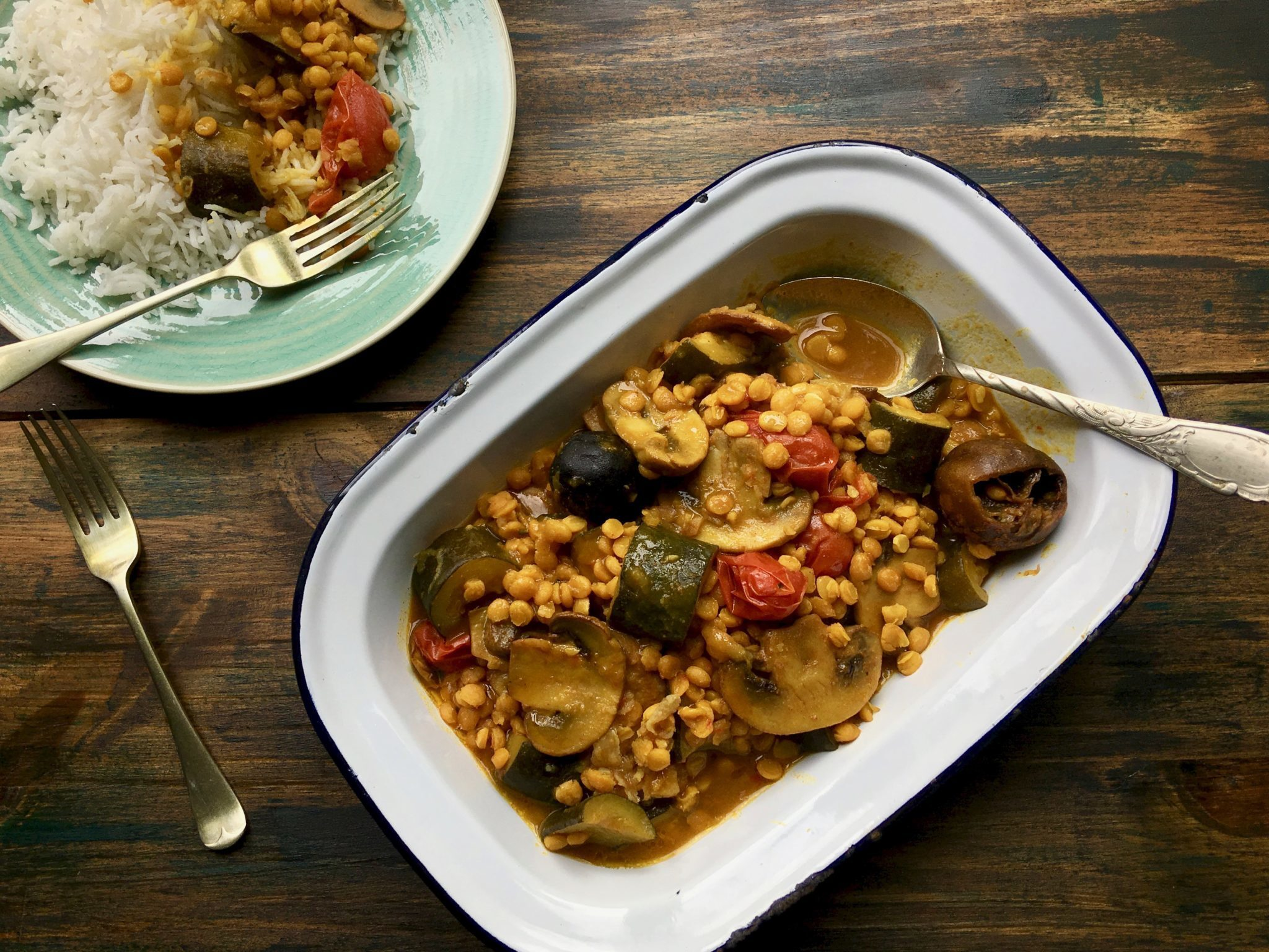Yellow Lentil Stew With Mushrooms & Courgettes (Vegetarian Gheymeh)