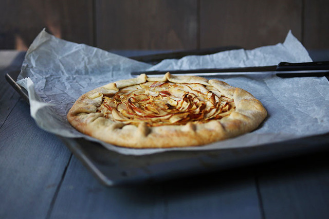 Sweet organic apple pie galette