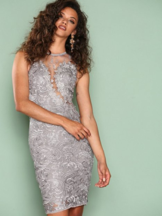 Ax Paris Dreamy Lace Dress Fodralklänningar Grey