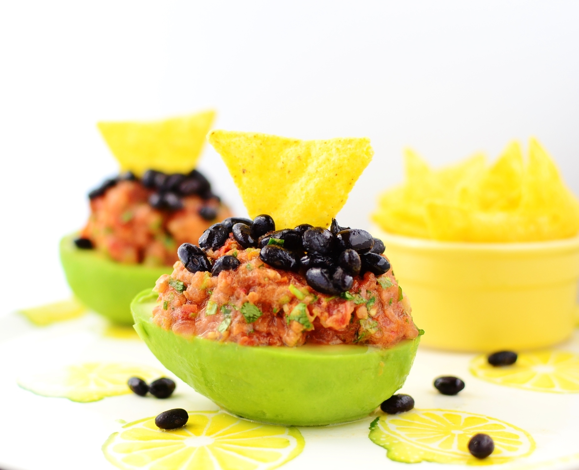 Avocado with salsa and black beans