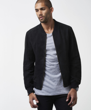 Ross Suede Bomber Black