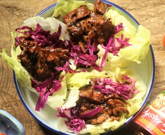 P.F. Chang-inspired Chicken Lettuce Wraps with Red Cabbage Relish