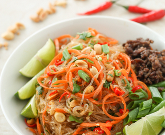 Yum Woon Sen -Thai Glass Noodle Salad with Ginger Lime Dressing