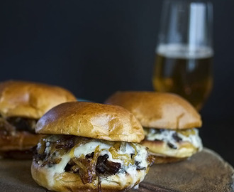 Man Pleasing Boneless Rib Sandwich with Caramelized Onions and Melted Brie