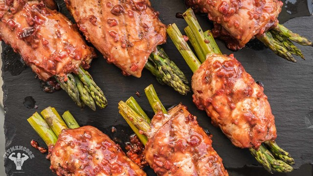 Chipotle Chicken Wrapped Asparagus - Fit Men Cook
