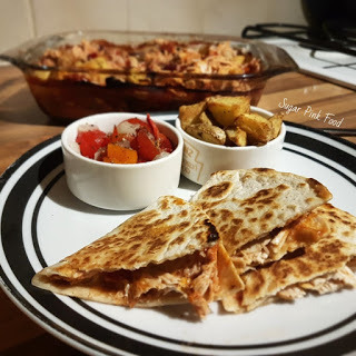 Syn Free Mexican Shredded Chilli & Lime Chicken Quesadillas, Crispy Potatoes & Chunky Salsa Recipe