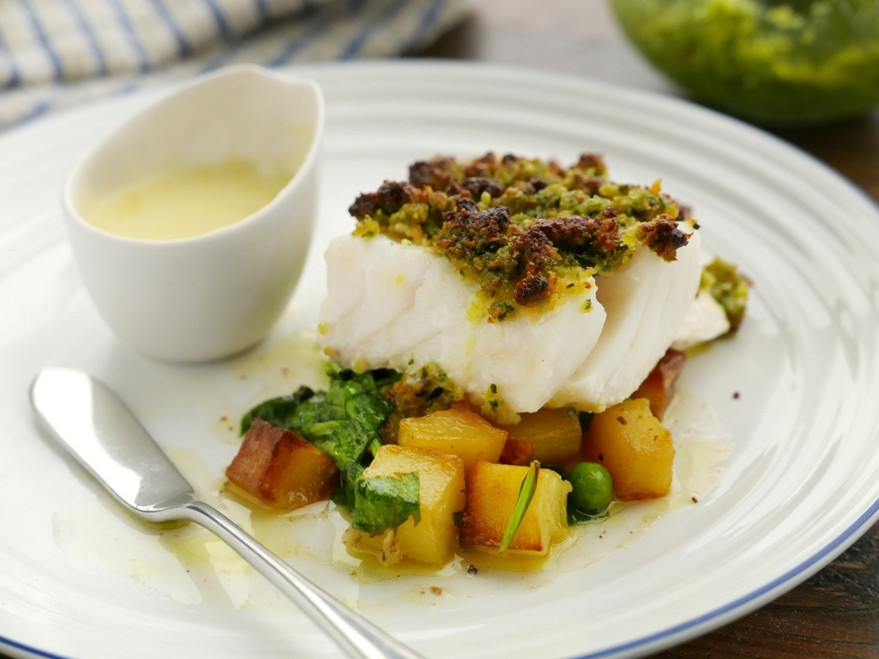 Cod with Parmentier Potatoes and Butter Sauce