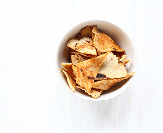 Pittige oven gebakken corn tortilla chips
