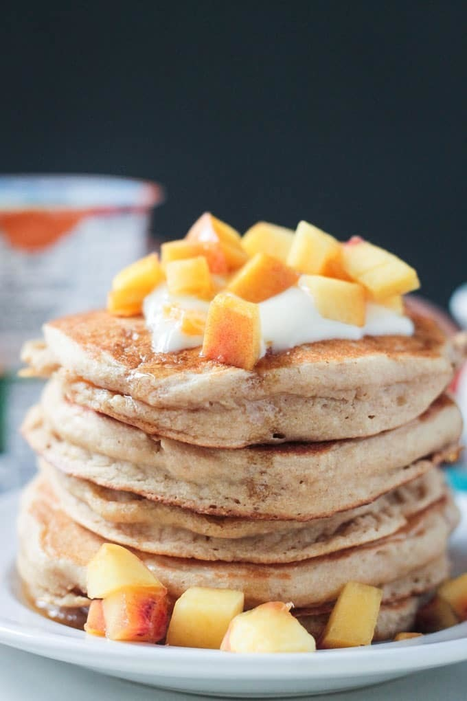 Peaches and Cream Dairy Free Pancakes
