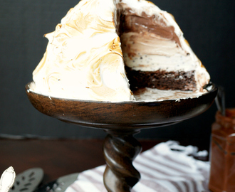 chocolate hazelnut layered Baked Alaska