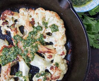 Roasted cauliflower steaks with salsa verde #SundaySupper