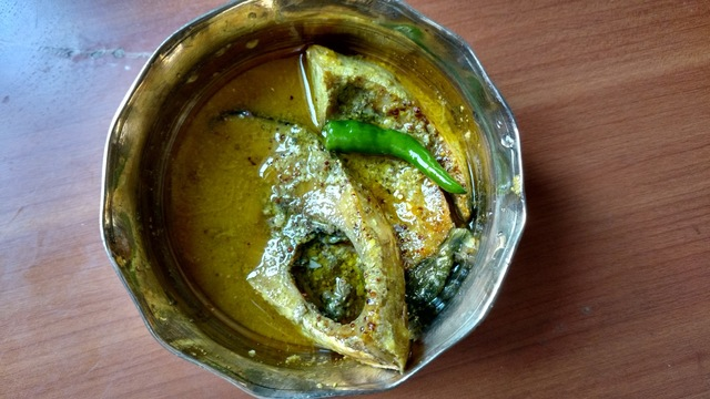 Bhapa Ilish - Bengali style steamed Hilsa with mustard sauce and yogurt
