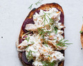 SMOKED MACKEREL WITH HORSERADISH AND BEETROOT ON RYE