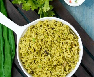 Coriander Pulao Recipe | Kothamalli Pulao | Cilantro  Pea Pulao | Coriander Leaves Rice - Easy Lunch Box Recipe