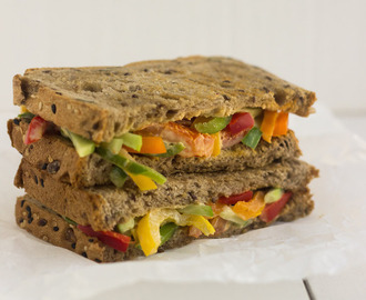 Veggie Sandwich | With Colorful peppers, tomatoes, and cucumbers