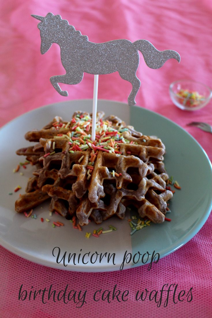 Unicorn poop birthday cake waffles