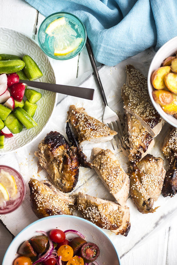 Miso and Sesame Roast Chicken with Bashed Cucumber Salad