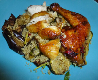 Pomegranate Poussin on a Roasted Vegetable and Preserved Lemon Couscous with a Cumin and Pomegranate Dressing Recipe