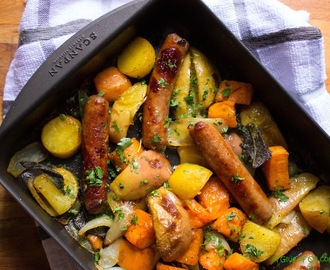 Skinni Pork Sausage Sweet Potato and Apple Tray Bake