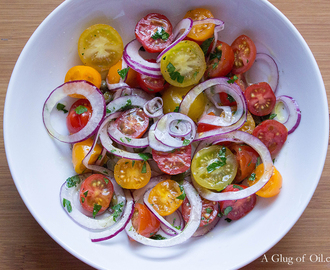Simple Salad of Tomatoes and Onions with Lemon Caper Dressing