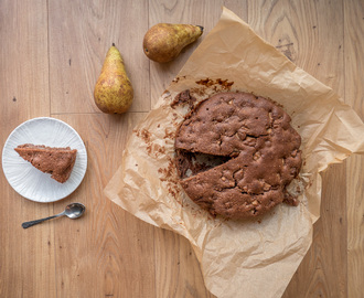 Chocolate amaretto pear cake
