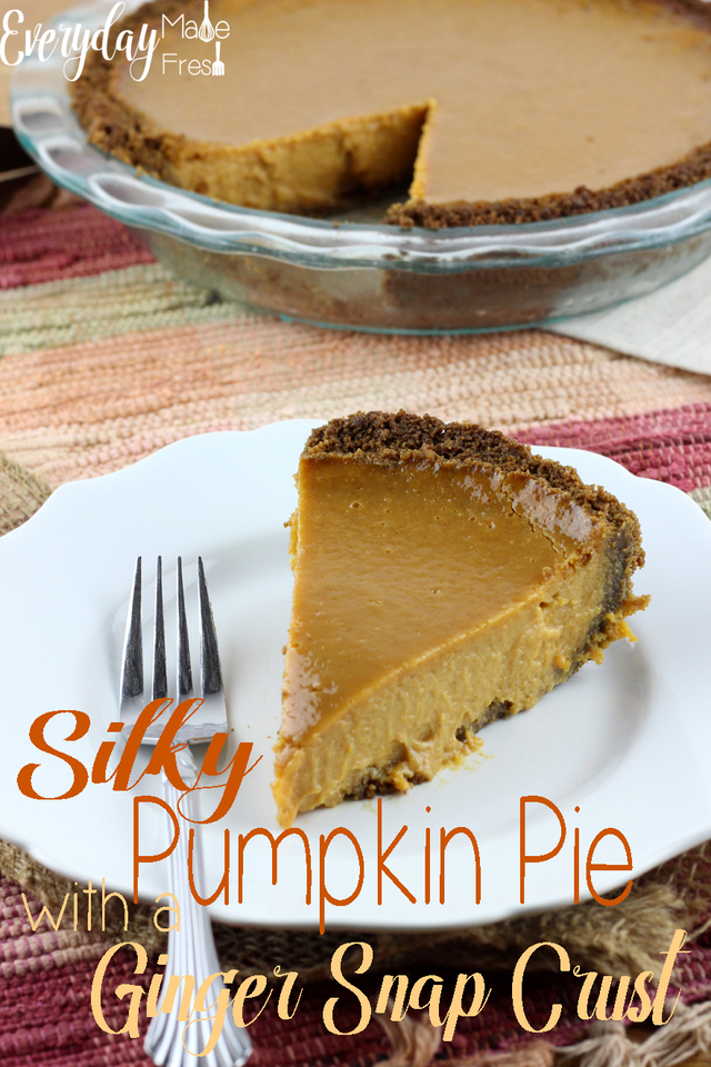Silky Pumpkin Pie with a Ginger Snap Crust