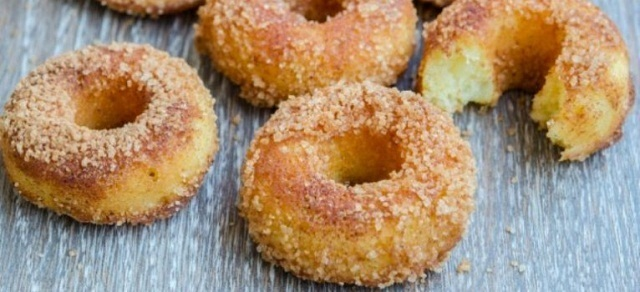 Baked donuts with pineapples and cinnamon