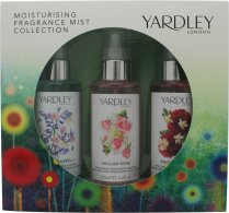 Yardley Moisturising Fragrance Mist Presentset 3 x 100ml - English Bluebell + English Rose + English Dahlia