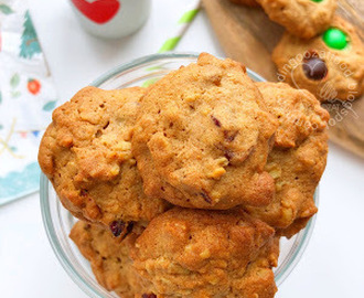 Wholewheat Walnut & Cranberry Oatmeal Cookies 全麦核桃蔓越莓燕麦饼干
