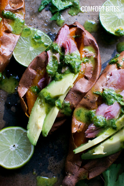 Sweet Potatoes with Smoked Turkey, Avocado and a Coriander Lime Dressing