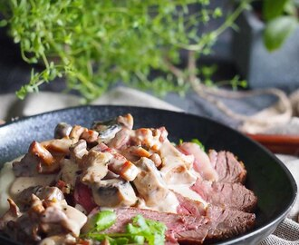 Stek z sosem grzybowym / Steak with mushroom sauce